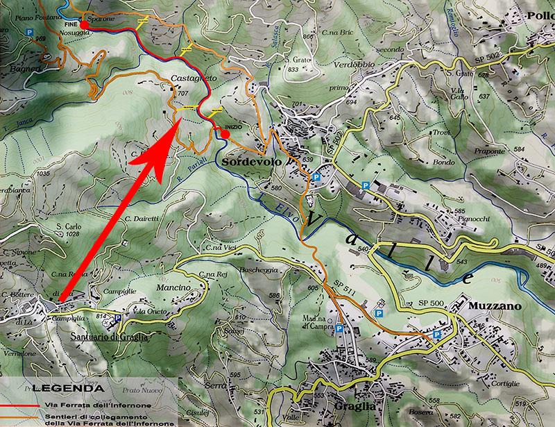 Valle Elvo, Sordevolo, Via Ferrata dell'Infernone Infernone_map